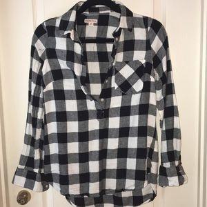 plaid half button flannel